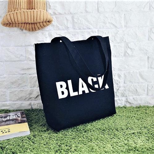 Väska, BLACK i canvas med dragkedja och innerficka
