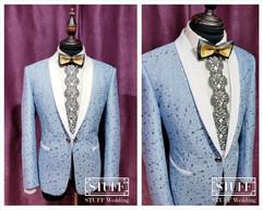 淺藍銀花白領