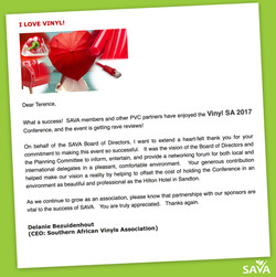 Letter of thanks from SAVA