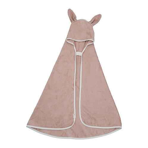 Organic Hooded Baby Towel Bear Rose, Fabelab