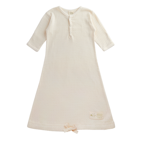 Nature Baby Organic Cotton Sleeping Gown Pointelle Ecru (front)