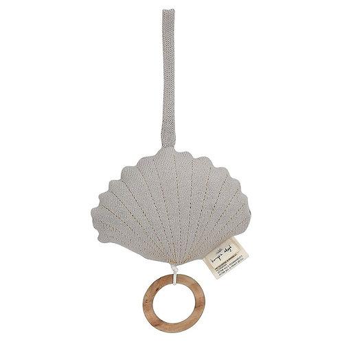 Organic Cotton Clam Music Toy Light Grey, Konges Slojd