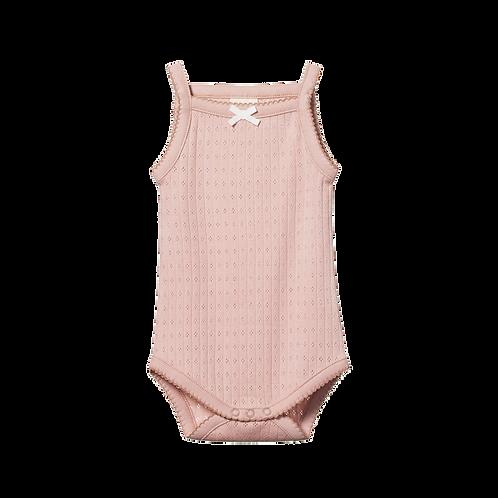 Organic Cotton Camisole Bodysuit Pointelle Rose, Nature Baby