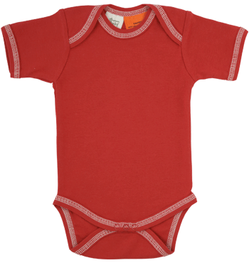 Organic Cotton Short Sleeve Bodysuit Red 6-12m, Nature Baby