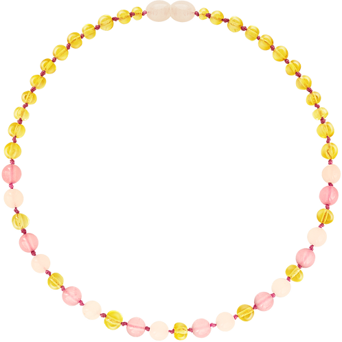 Amber Baby Teething Necklace Lemon Rose & Pink, Made by Nature