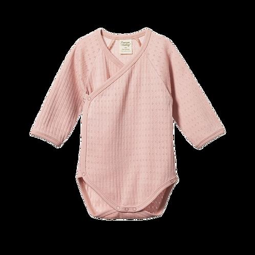 Organic Cotton Kimono Bodysuit Pointelle Rose, Nature Baby