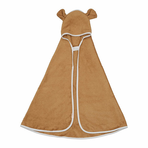 Organic Hooded Baby Towel Bear Ochre, Fabelab