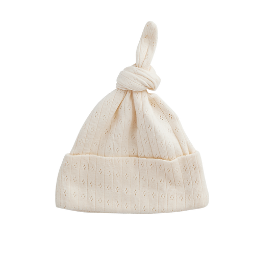 Nature Baby Organic Cotton Knotted Beanie Natural Pointelle (front)