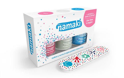 Organic Nail Polish Pink/White/Blue, Namaki
