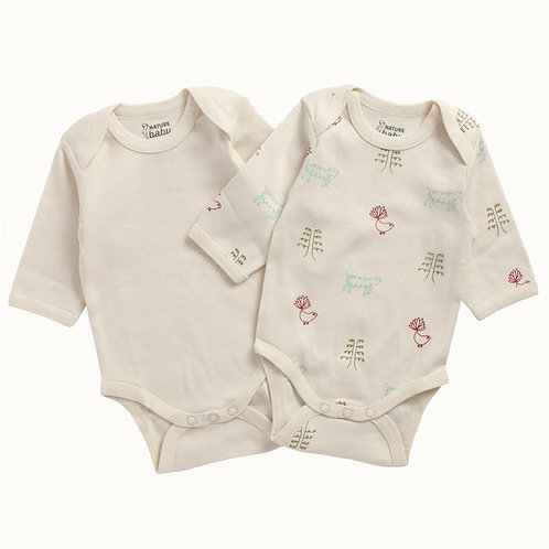 Organic Cotton long sleeve bodysuits 2 pack , Nature Baby (front)