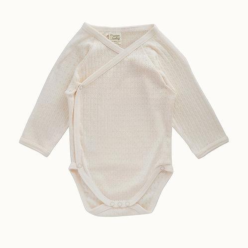 Nature Baby Organic Cotton Kimono Bodysuit Pointelle (front)
