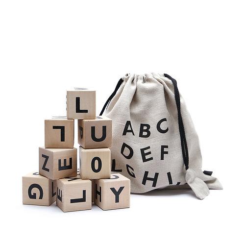 Wooden Alphabet Blocks Black, Ooh Noo