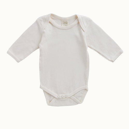 Nature Baby Organic Cotton Bodysuit Natural, Long Sleeve (front)