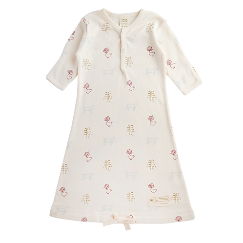 Nature Baby Organic Cotton Sleeping Gown Nature baby print (front)