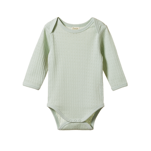 Organic Cotton Bodysuit Pointelle Dew, Nature Baby