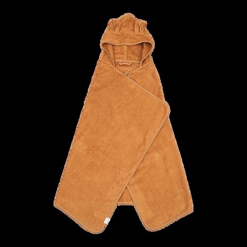 Organic Hooded Junior Towel Bear Ochre, Fabelab