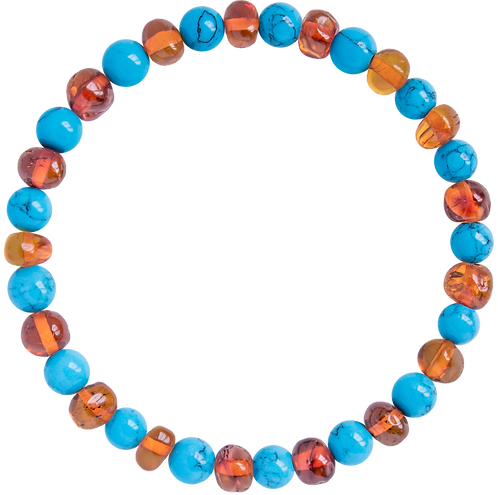 Premium Amber Bracelet Caramel/Turquoise, Made by Nature