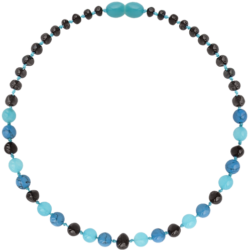 Premium Amber Baby Teething Necklace Cherry Turquoise, Made by Nature