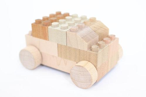Wooden Bricks with Wheels (14 pieces), Mokulock