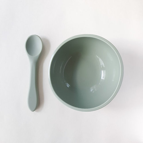 Silicone Suction Bowl & Spoon Sage, Dove and Dovelet