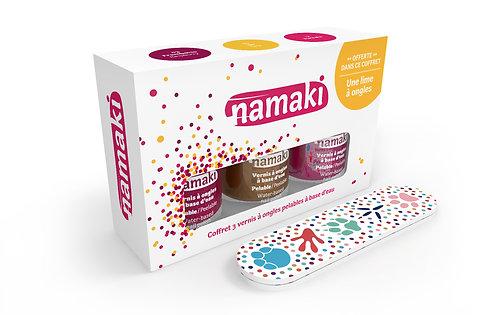 Organic Nail Polish Raspberry/Gold/Fuchsia, Namaki