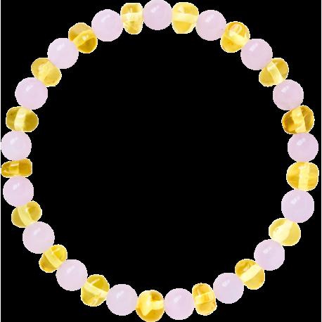 Premium Amber Mum Bracelet Lemon Rose, Made by Nature