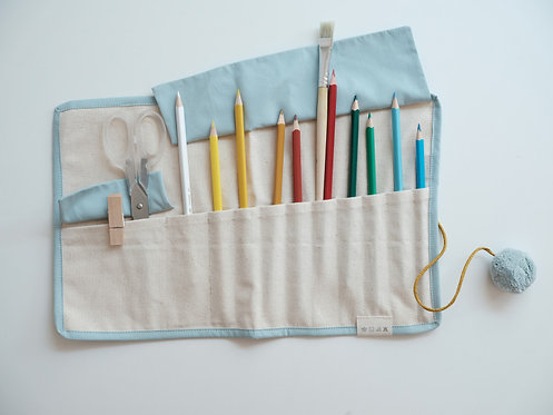 Roll up Pencil Case Blue Cat, Fabelab