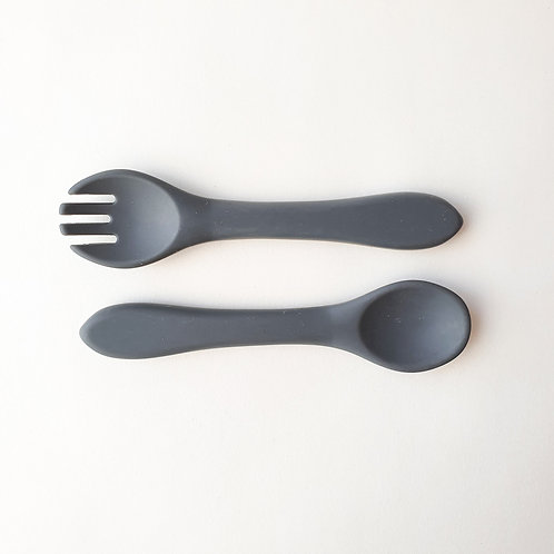 Silicone Fork & Spoon Set Rhino, Dove and Dovelet
