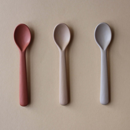 Bamboo Toddler Spoon 3-pack Fog/Rye/Brick, Cink