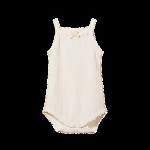 Organic Cotton Camisole Bodysuit Pointelle, Nature Baby