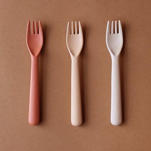 Bamboo Toddler Fork 3-pack Fog/Rye/Brick, Cink