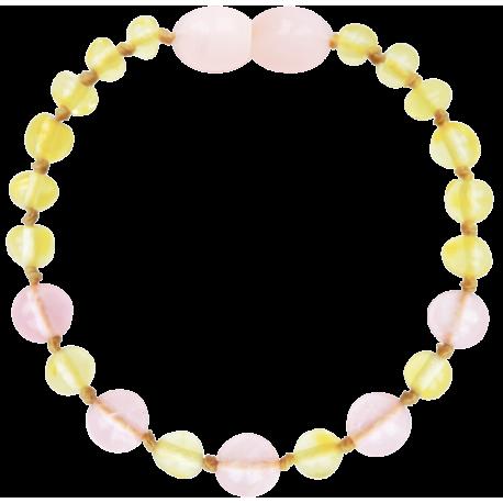 Premium Amber Baby Teething Bracelet/ Anklet Lemon Rose, Made by Nature
