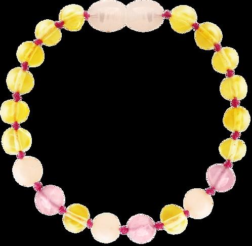 Premium Amber Bracelet Lemon/Pink Quartz/Pink Jade, Amberos