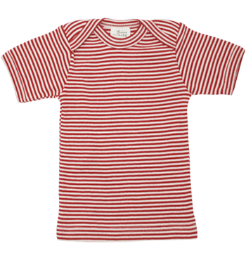 Organic Cotton Top Red Stripe, Short Sleeve, Nature Baby