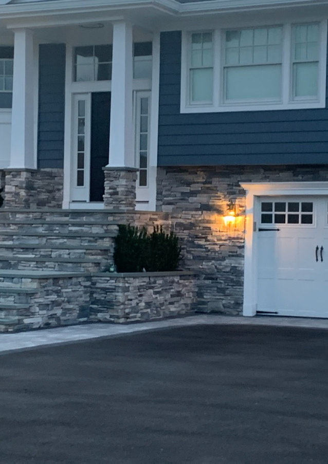 Stone Veneer Steps, Column and Siding