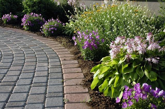 curve path stone paver planting