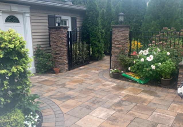 Outdoor Stone Veneer Columns and Pavers