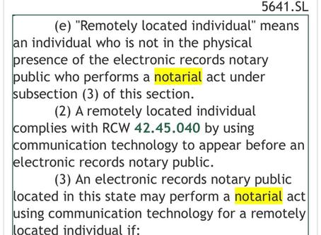 4.19.2020 Washington permits Remote Online Notarization, Effective October 1, 2020