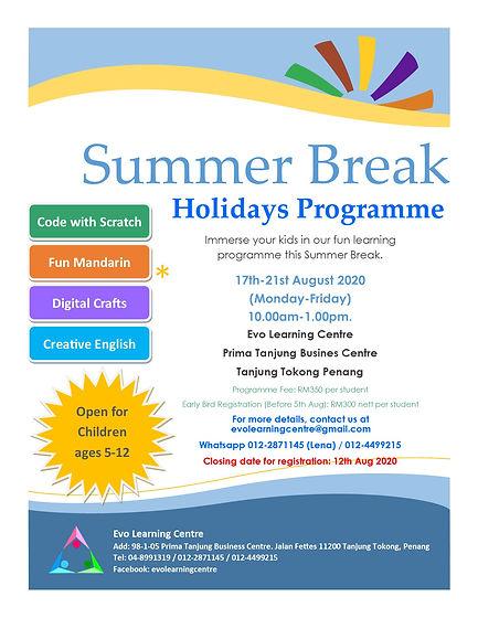 Summer Break Holiday Programme Aug 2020.