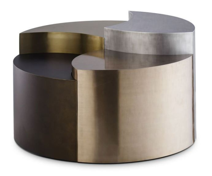 Multi-height mixed metal coffee table with puzzle-like pieces that fit together in this modern table, New Canaan CT