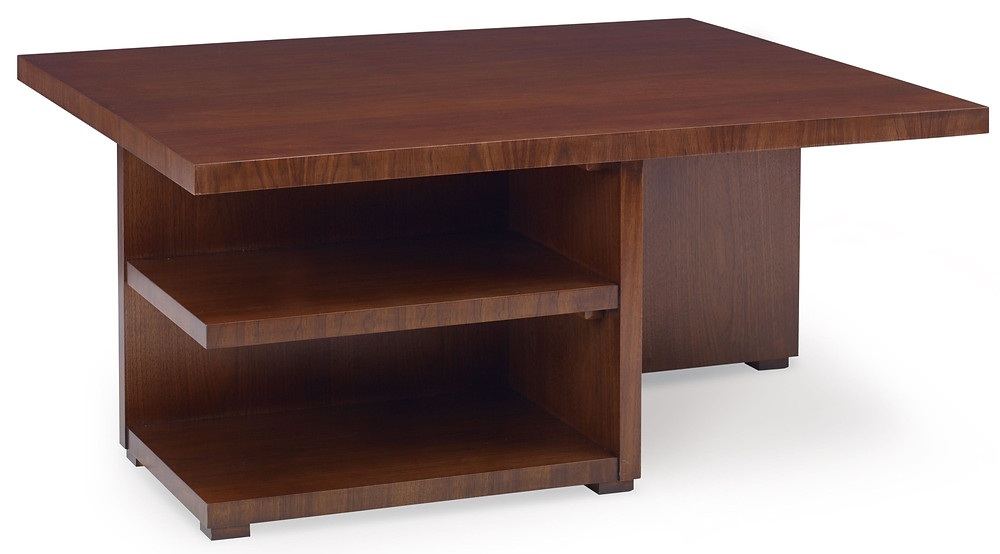 Walnut ottoman storage table in transitional style with built in shelving and storage for ottomans (sold separately)
