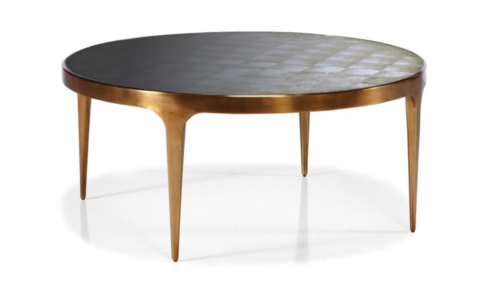 Rose gold round metal table with églomisé finish on glass top New Canaan CT