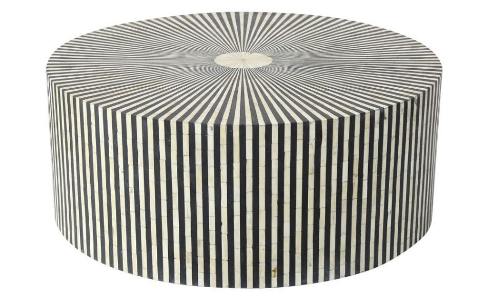 Bohemian, eclectic solid round coffee table with striped bone inlay in white and black New Canaan CT
