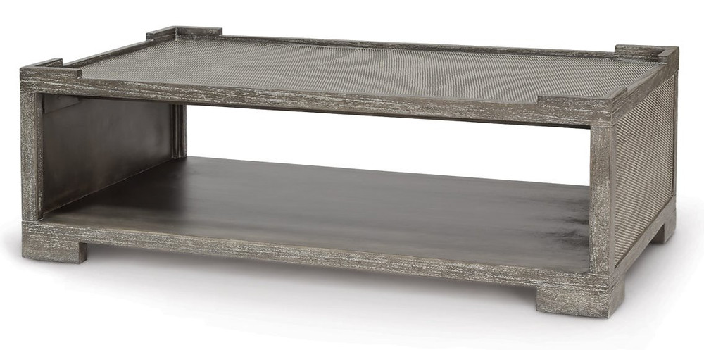 """Distressed two tier transitional hardwood coffee table with cane matting on top and sides 