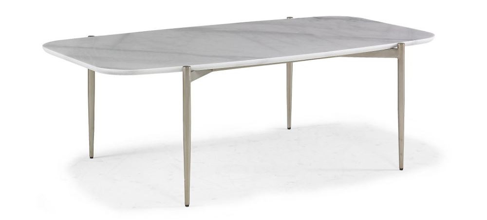 Modern honed marble top coffee table with sleek champagne metal legs, rounded edges, New Canaan CT,
