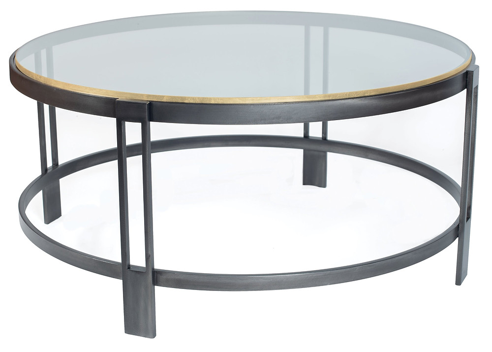 round gray metal table with glass top edged in silver or gold industrial and transitional style New Canaan CT