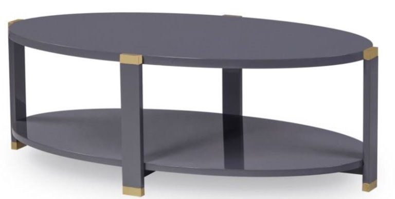Oval coffee table lacquered gray with brushed brass details, two tier, elegant and transitional, New Canaan CT