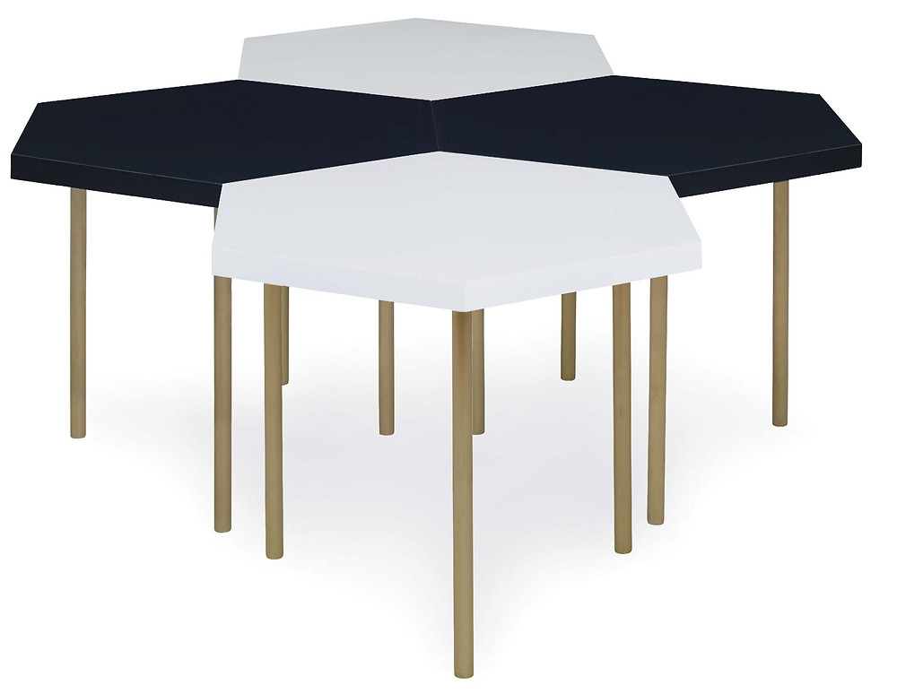 Black and white 6-sided nesting tables for a transitional or modern living room to mix and match New Canaan CT
