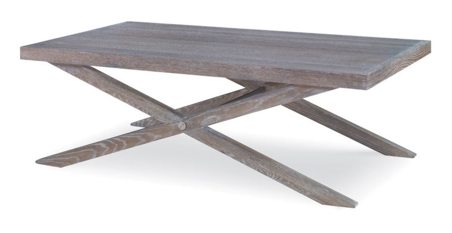 Cerused oak x-leg coffee table is both updated and traditional all at once it's never out of style, New Canaan CT