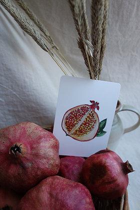 Postkarte Granatapfel offen